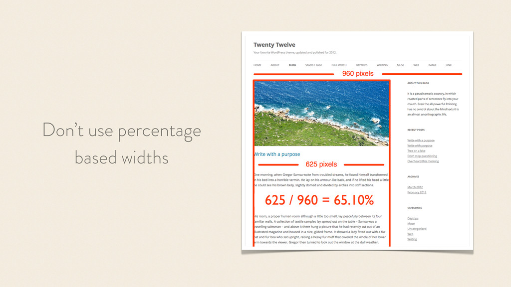 Don't use percentage based widths