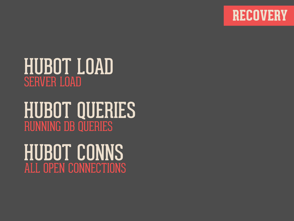 RECOVERY HUBOT LOAD HUBOT QUERIES HUBOT CONNS S...