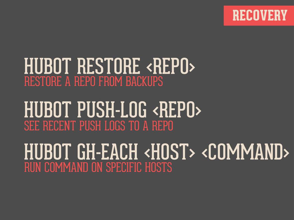 RECOVERY HUBOT RESTORE <REPO> HUBOT PUSH-LOG <R...
