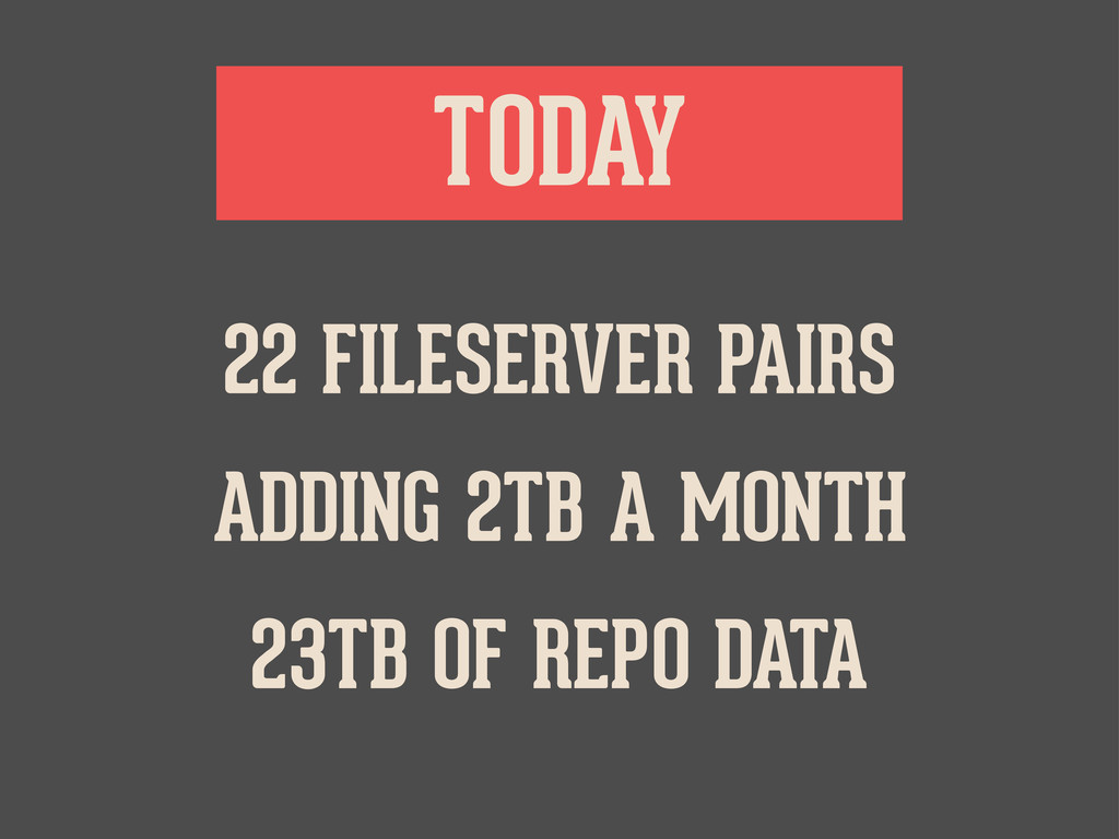 TODAY ADDING 2TB A MONTH 22 FILESERVER PAIRS 23...