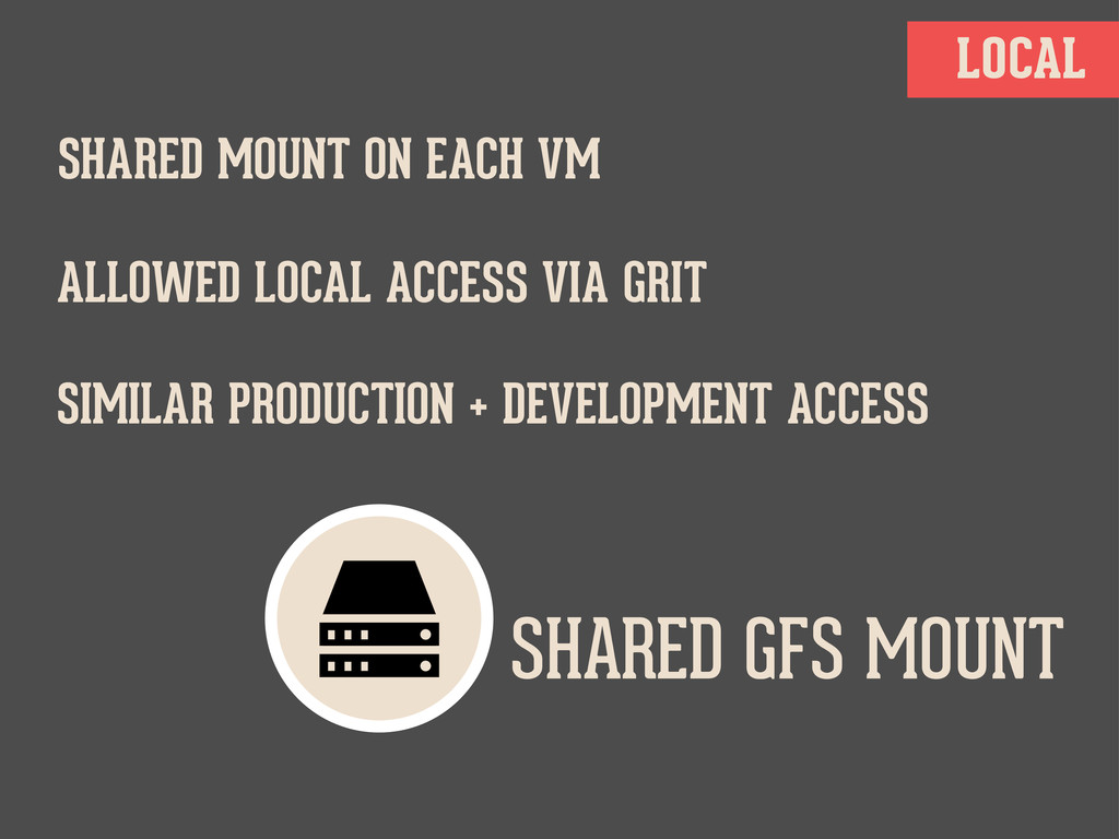 LOCAL SHARED GFS MOUNT SHARED MOUNT ON EACH VM ...