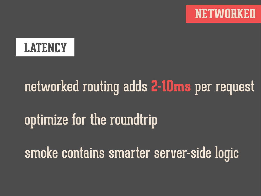 NETWORKED LATENCY networked routing adds 2-10ms...