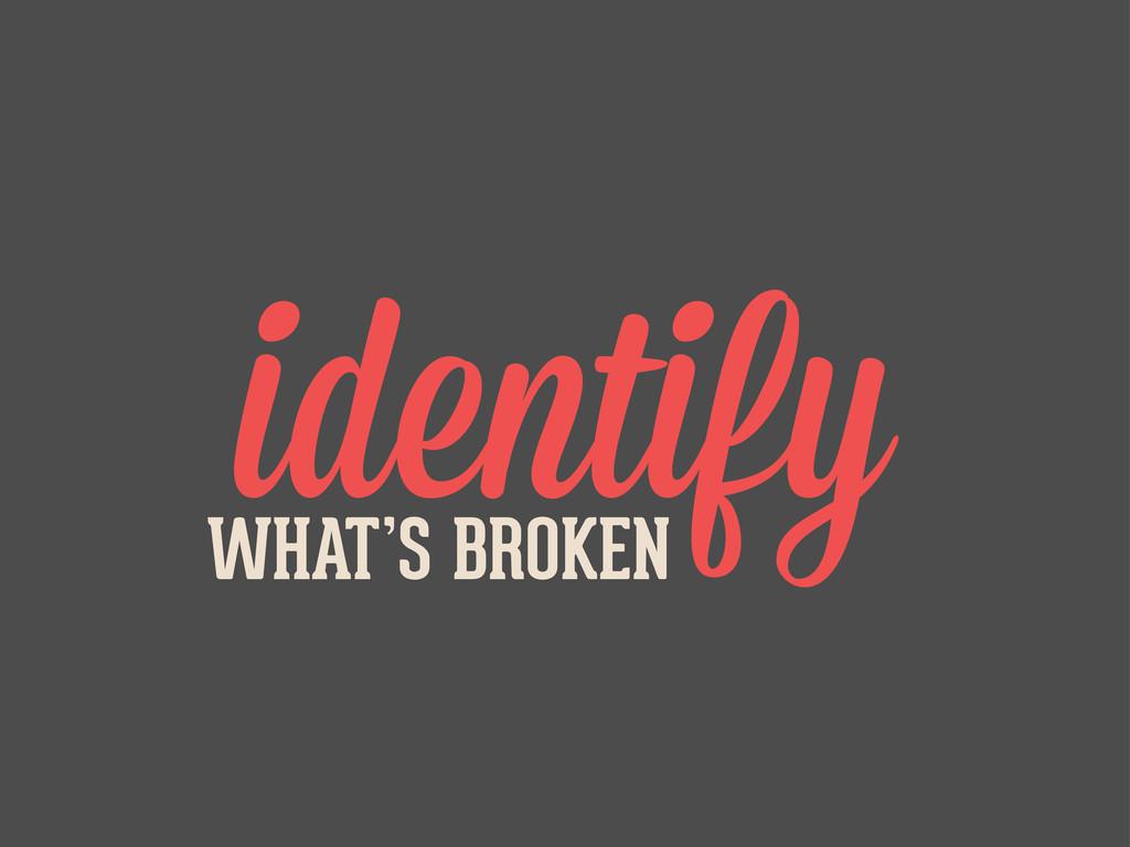 identify WHAT'S BROKEN