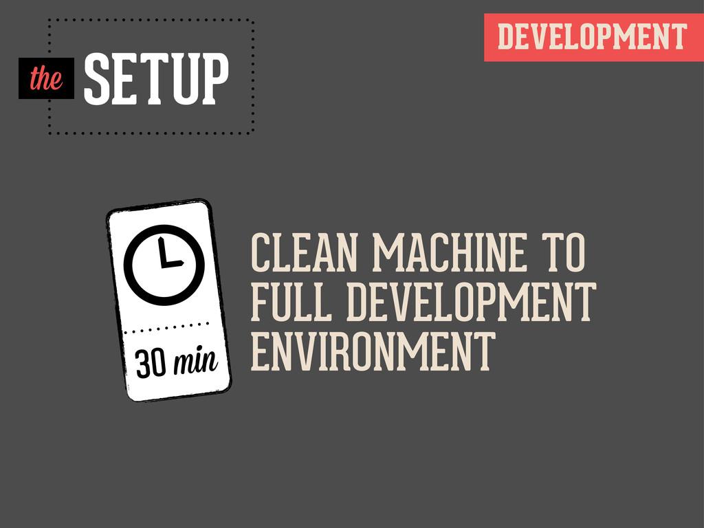  30 min SETUP DEVELOPMENT the CLEAN MACHINE TO...