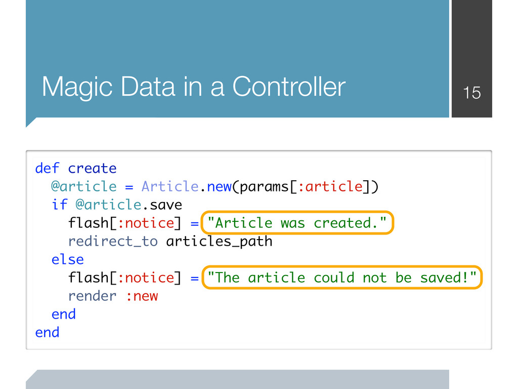 15 Magic Data in a Controller def create @artic...