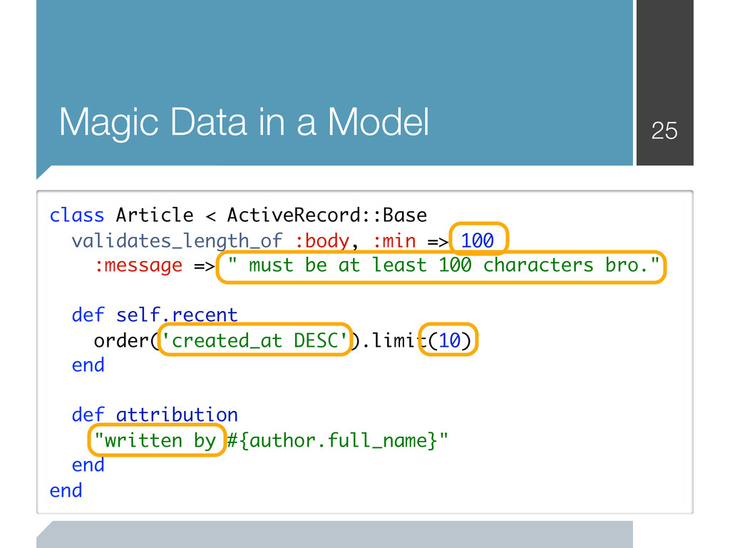 25 Magic Data in a Model class Article < Active...