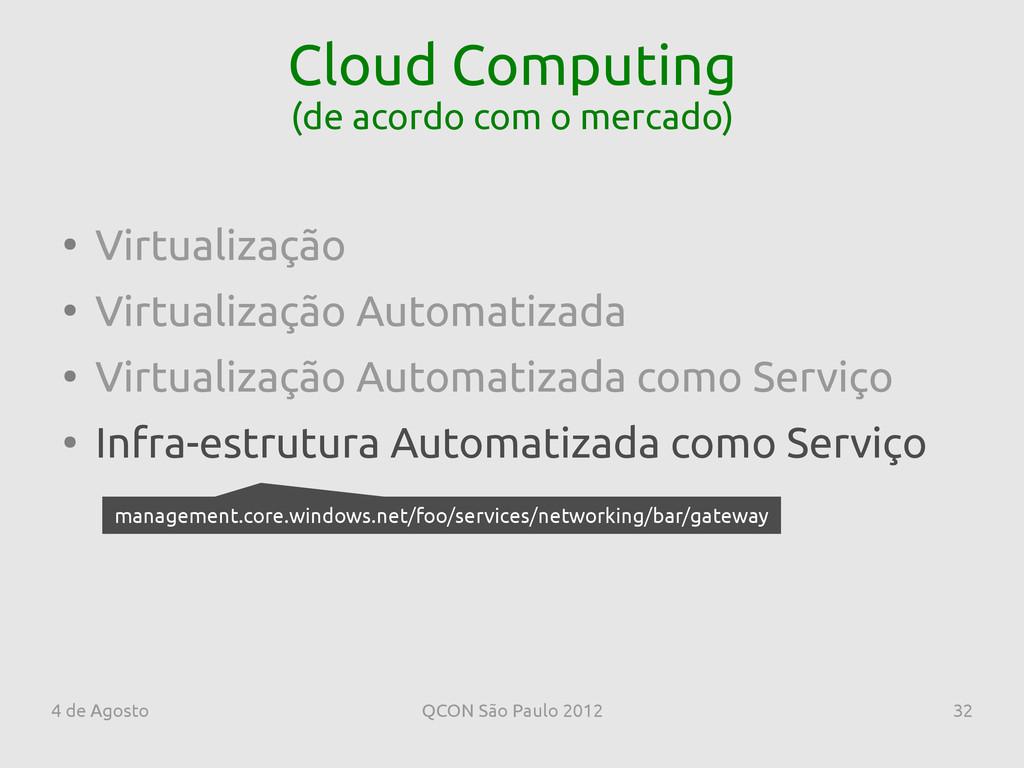 4 de Agosto QCON São Paulo 2012 32 Cloud Comput...