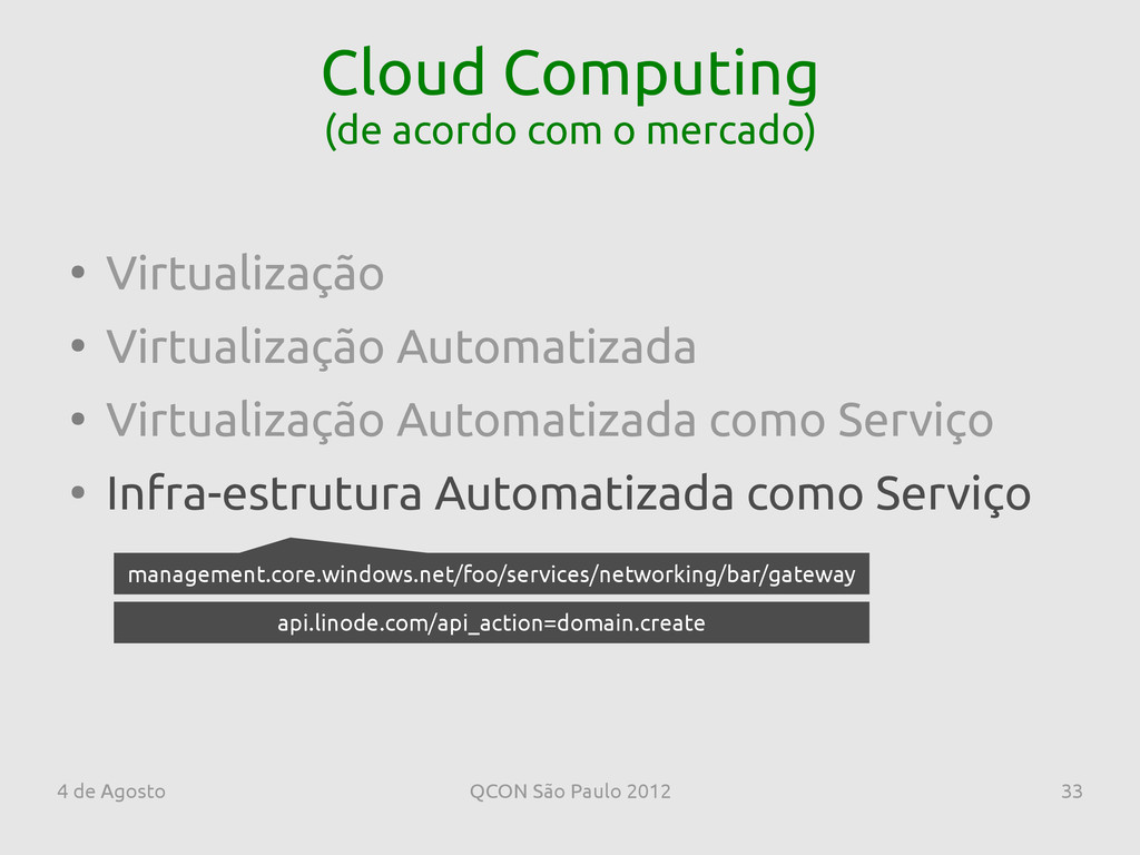 4 de Agosto QCON São Paulo 2012 33 Cloud Comput...