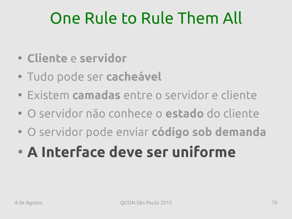 4 de Agosto QCON São Paulo 2012 70 One Rule to ...