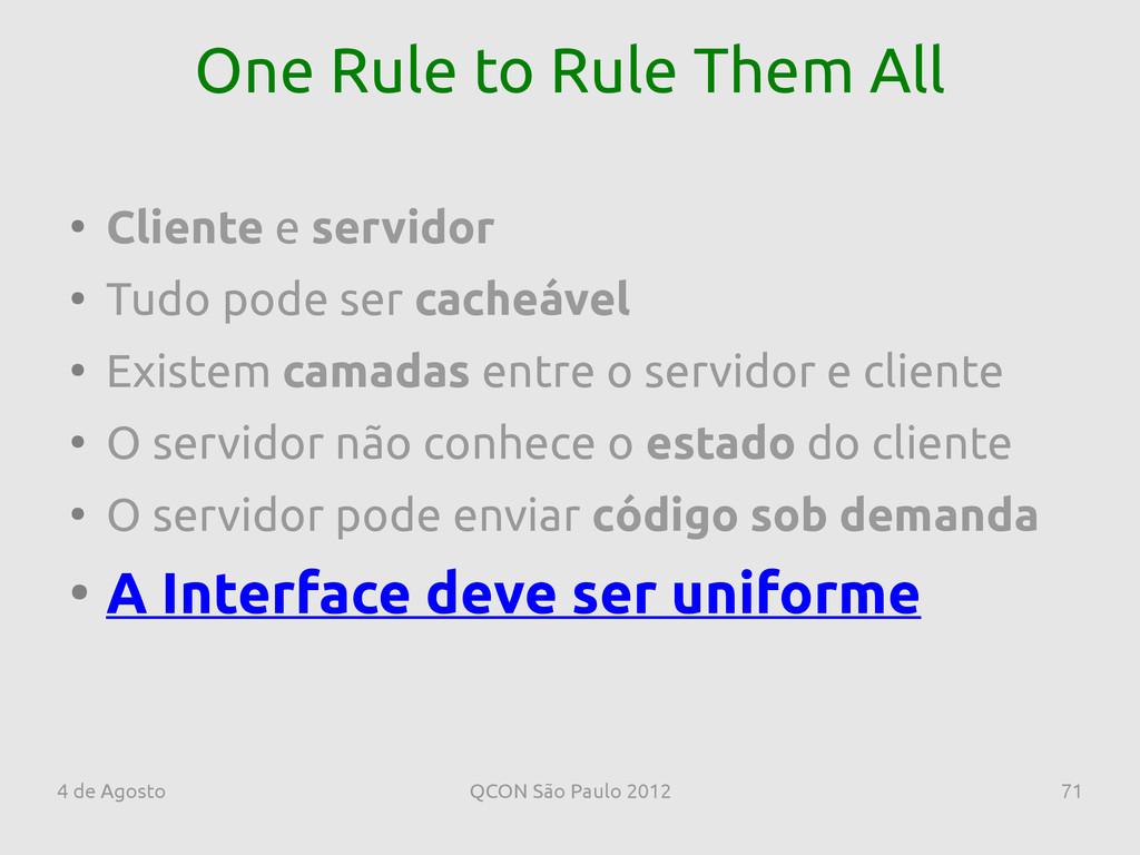 4 de Agosto QCON São Paulo 2012 71 One Rule to ...