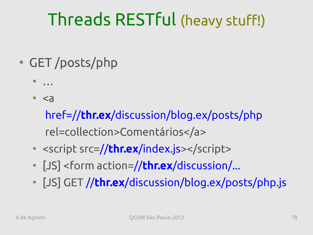 4 de Agosto QCON São Paulo 2012 78 Threads REST...