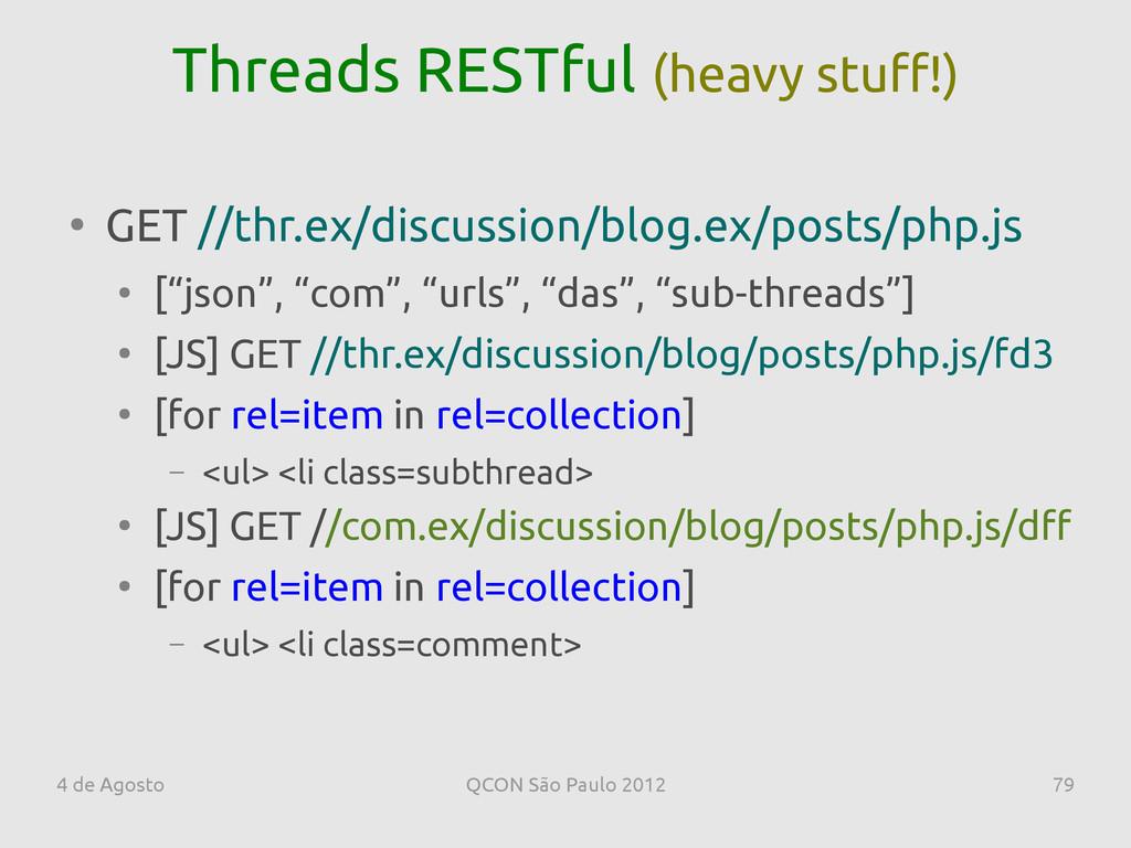 4 de Agosto QCON São Paulo 2012 79 Threads REST...