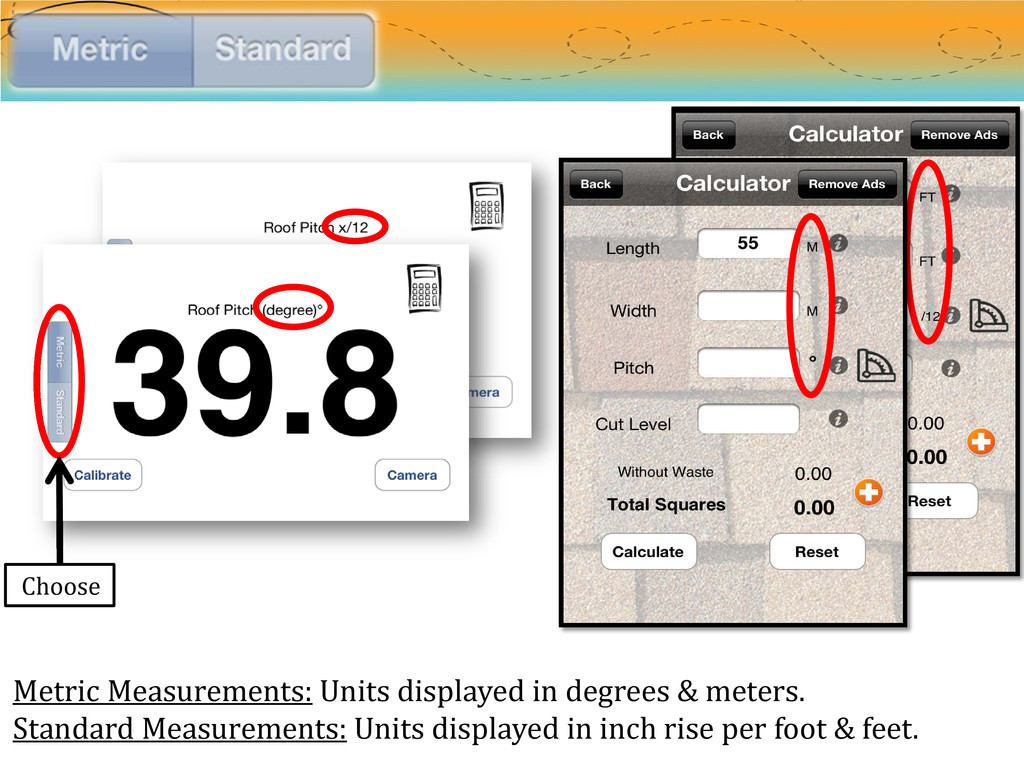 Metric Measurements: Units displayed in degrees...
