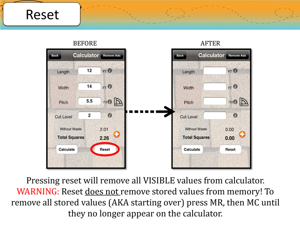 Pressing reset will remove all VISIBLE values f...