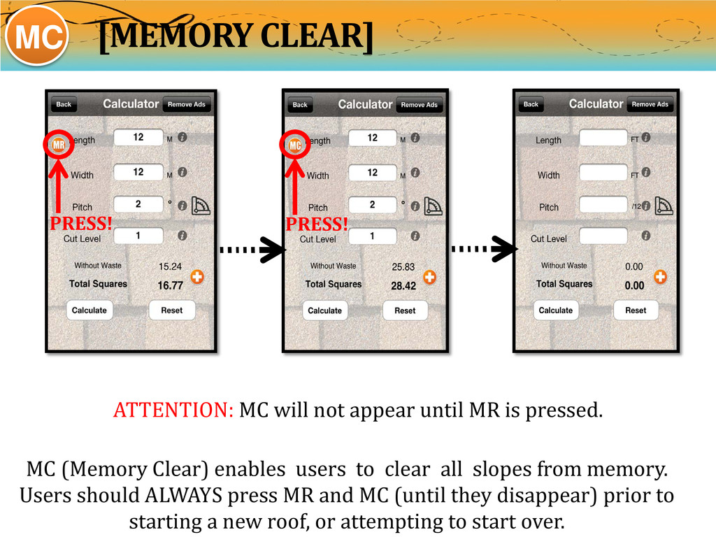 MC (Memory Clear) enables users to clear all sl...