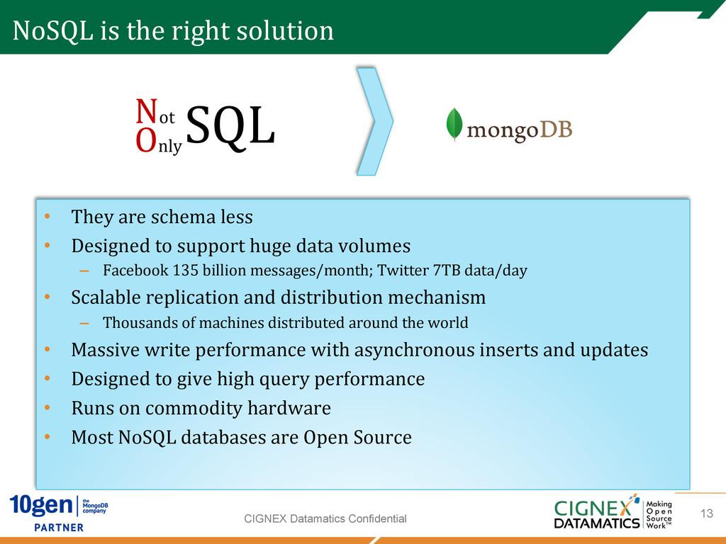 CIGNEX Datamatics Confidential NoSQL is t...