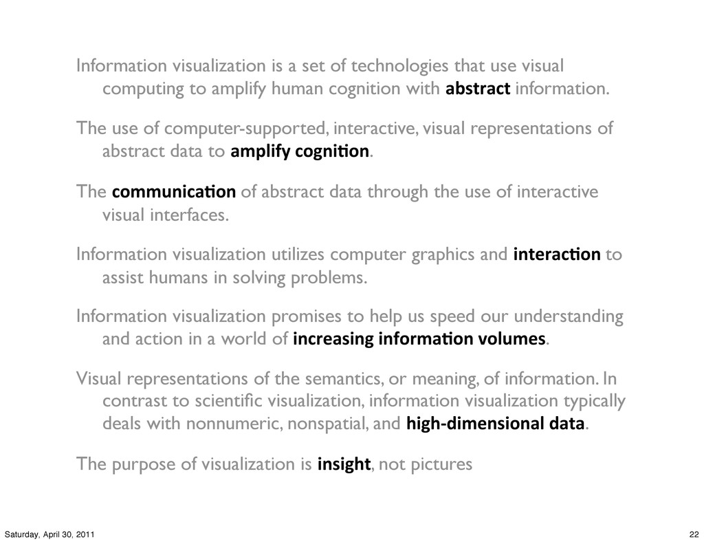 Information visualization is a set of technolog...