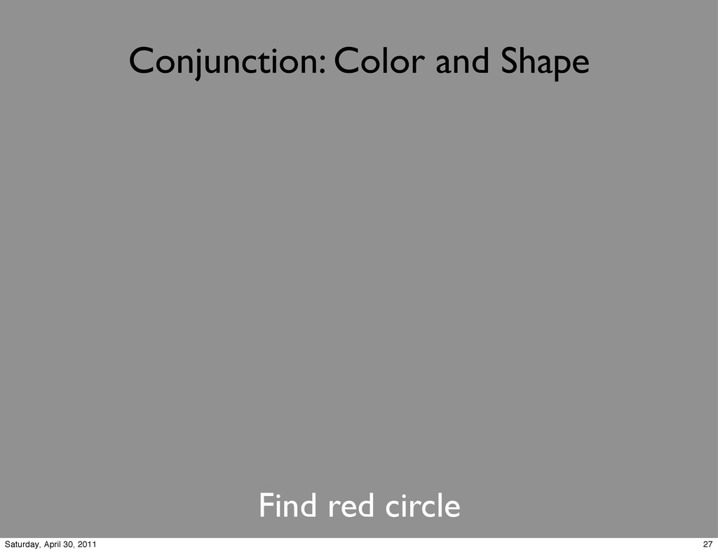 Conjunction: Color and Shape Find red circle 27...