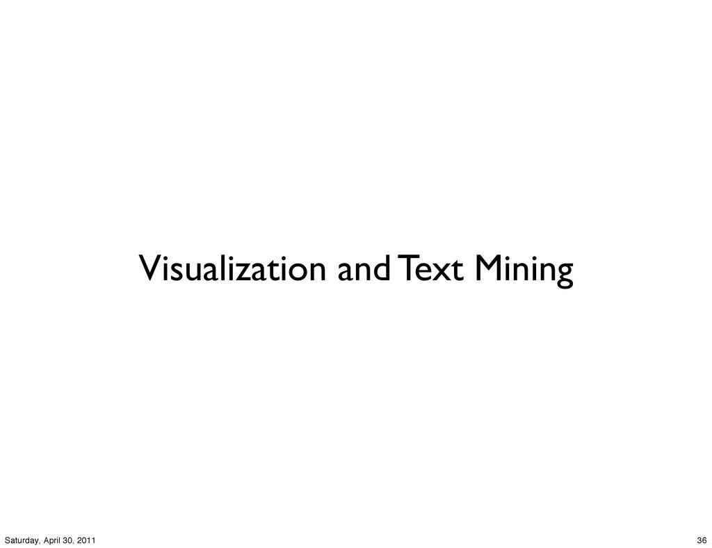 Visualization and Text Mining 36 Saturday, Apri...