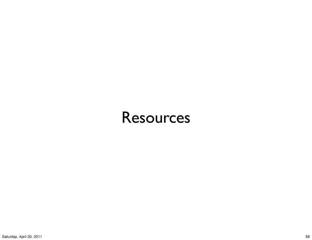 Resources 58 Saturday, April 30, 2011