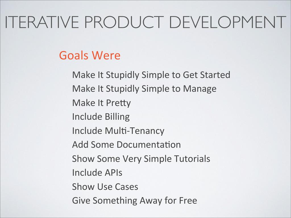 ITERATIVE PRODUCT DEVELOPMENT Goals Were Mak...