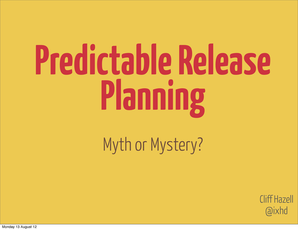 Myth or Mystery? @ixhd Cliff Hazell Predictable...