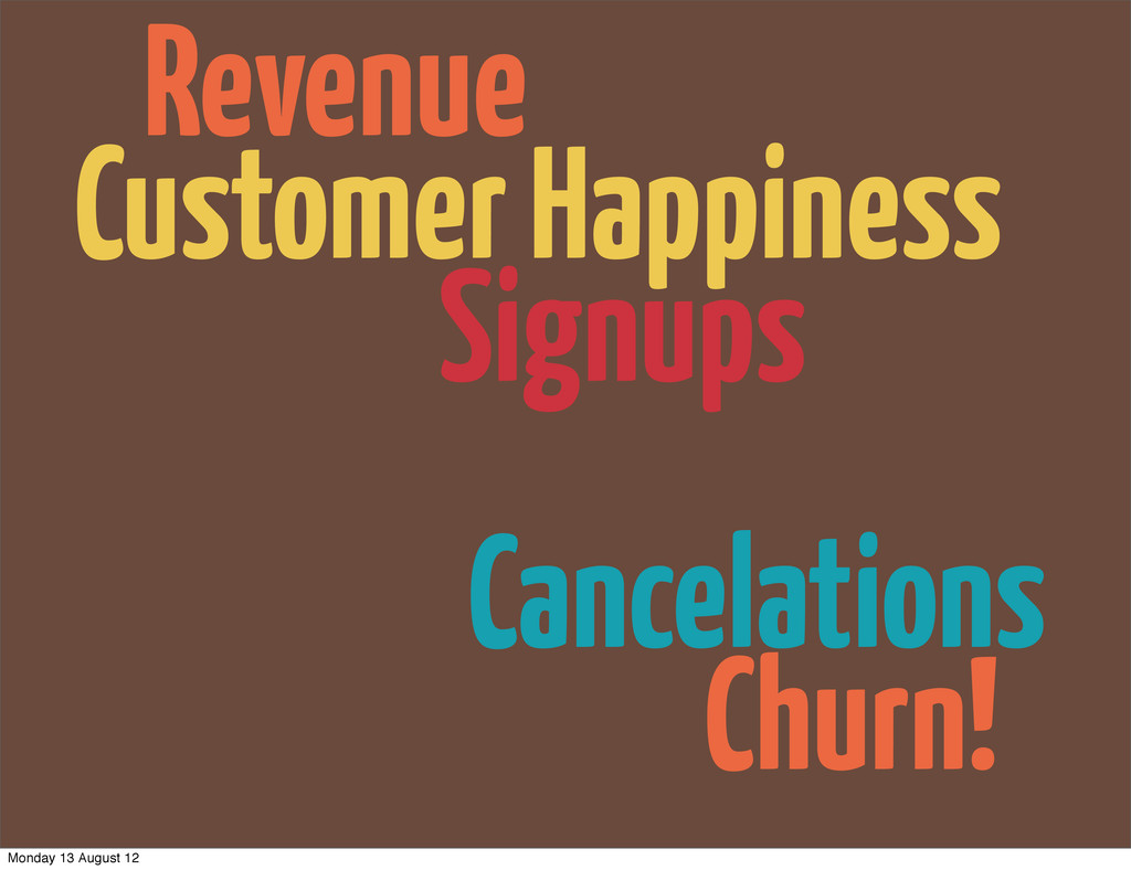 Churn! Cancelations Revenue Signups Customer Ha...