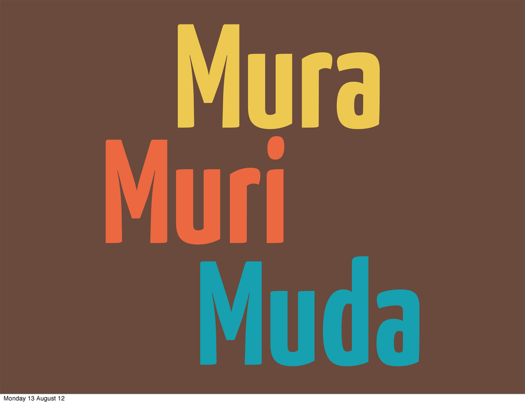 Muri Muda Mura Monday 13 August 12