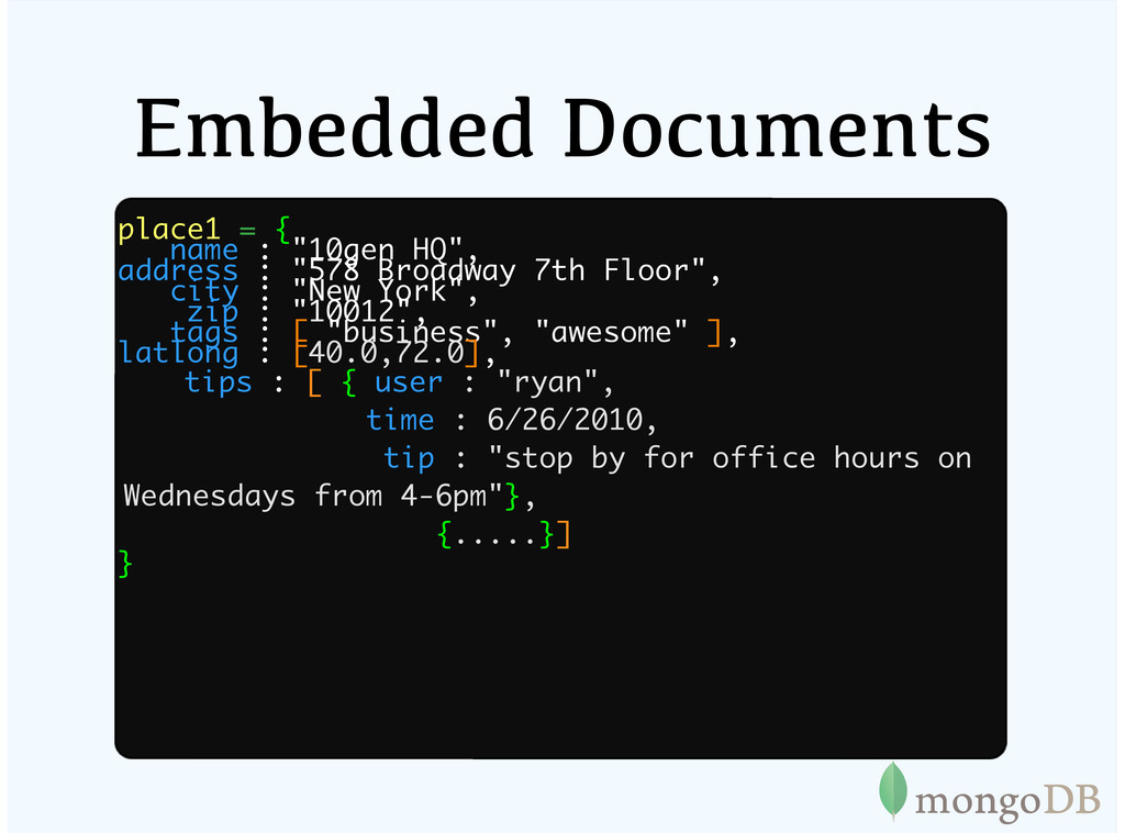"""Embedded Documents place1 = { name : """"10gen HQ""""..."""