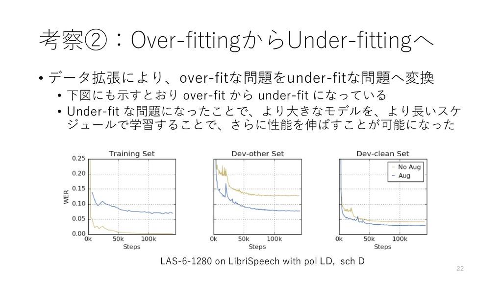 考察②:Over-fittingからUnder-fittingへ • データ拡張により、ove...