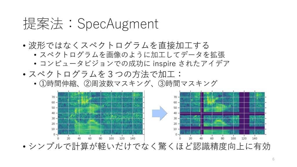 提案法:SpecAugment • 波形ではなくスペクトログラムを直接加工する • スペクトロ...