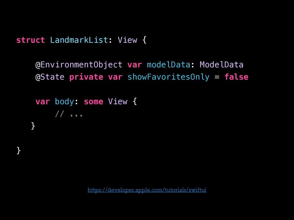 struct LandmarkList: View { @EnvironmentObject ...