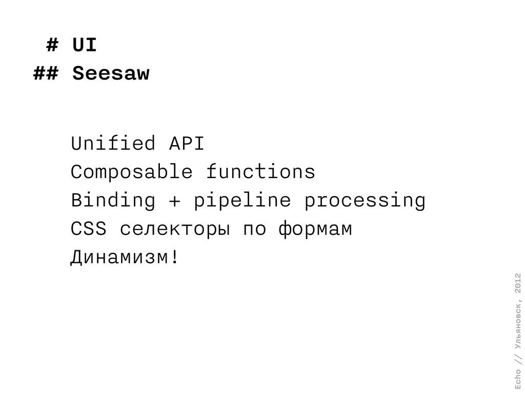 Echo // Ульяновск, 2012 # UI ## Seesaw Unified ...