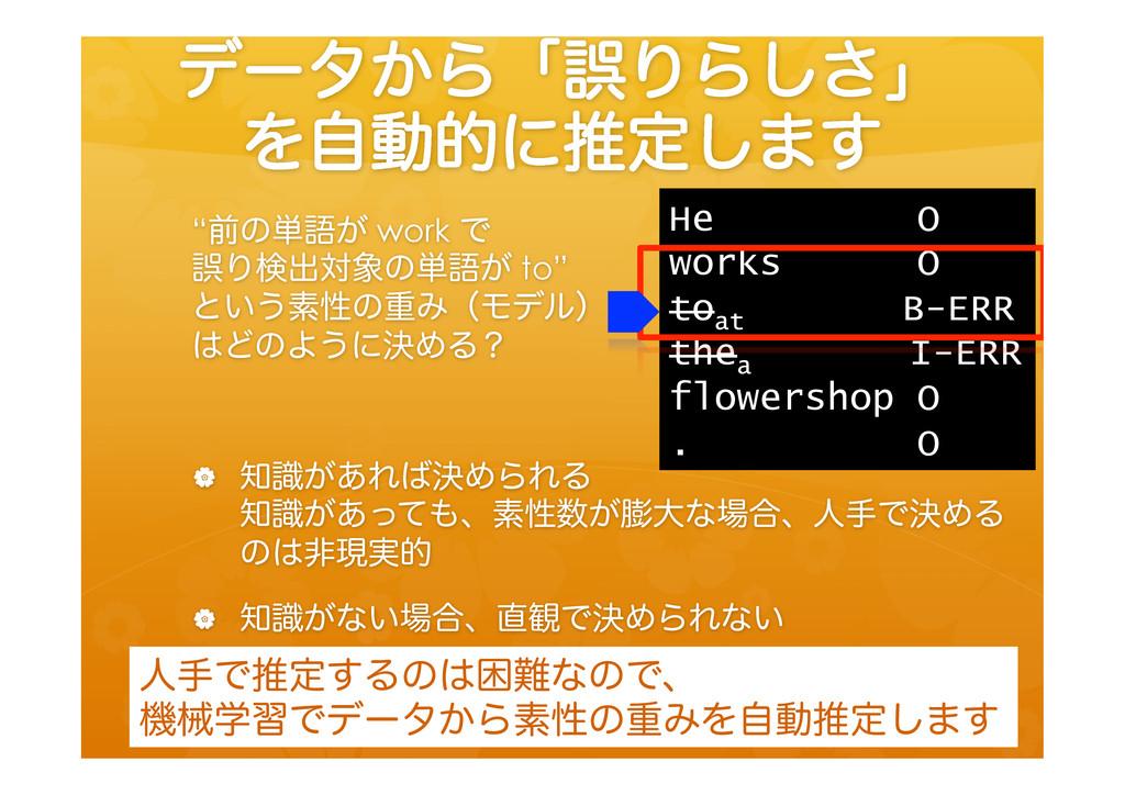 """σʔλ͔ΒʮޡΓΒ͠͞ʯ Λࣗಈతʹਪఆ͠·͢ """"લͷ୯ޠ͕ work Ͱ ޡΓݕग़ରͷ୯..."""