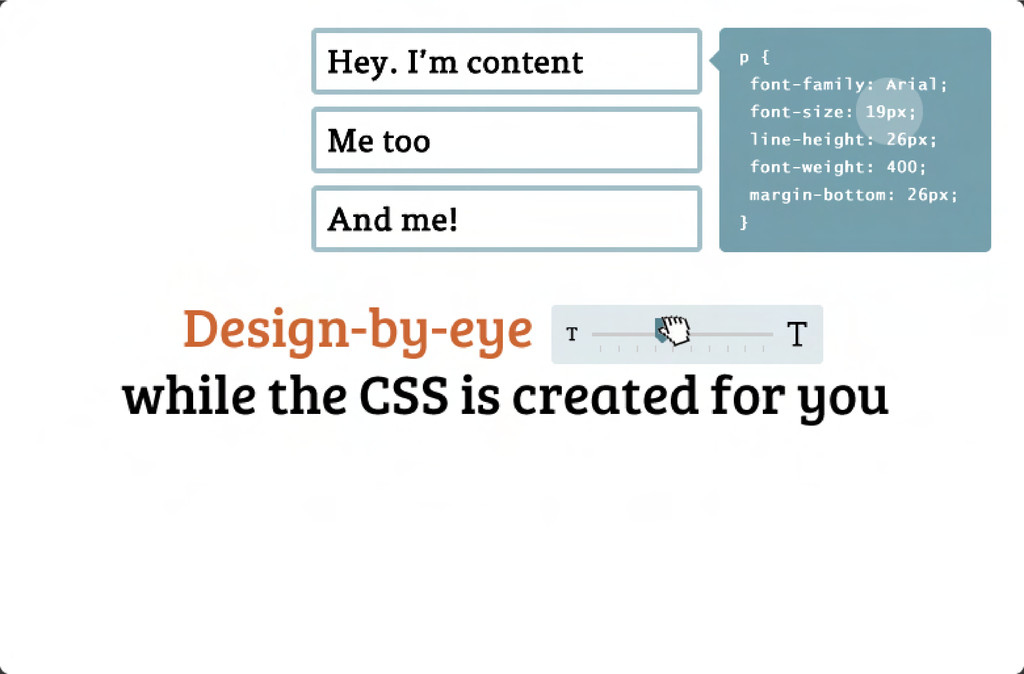 while the CSS is created for you Design-by-ey...