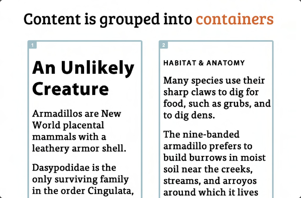 Content is grouped into containers An Unlikely ...