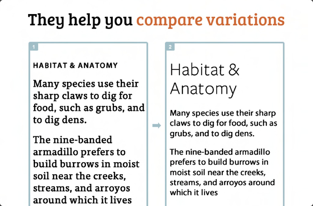They help you compare variations Habitat & Anat...