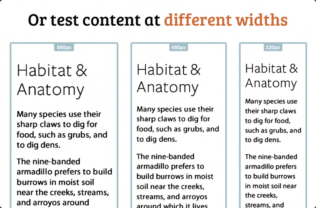 Or test content at different widths Habitat & A...