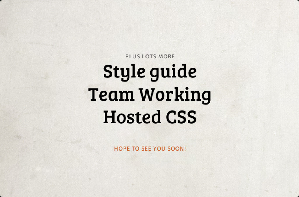 Style guide Team Working Hosted CSS PLU S LOT...