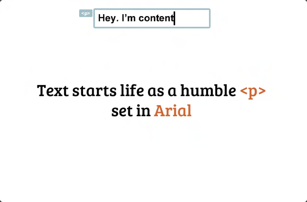 Text starts life as a humble <p>  set in Arial...