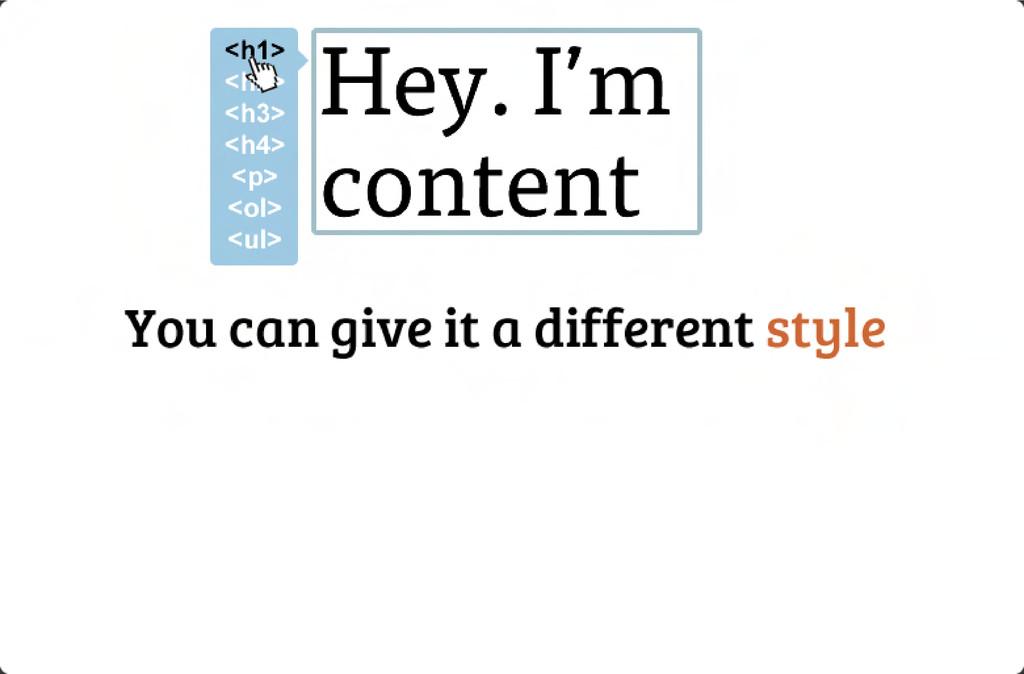 Hey. I'm content <p> <h1> <h2> <h3> <h4> <p...