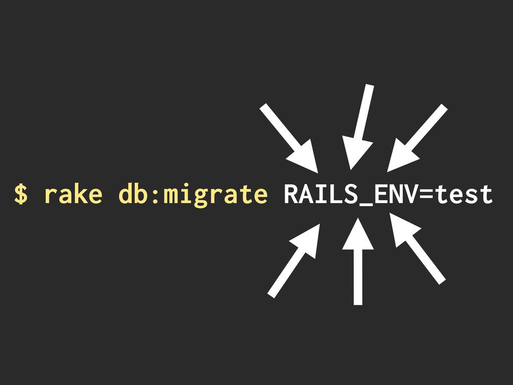 $ rake db:migrate RAILS_ENV=test