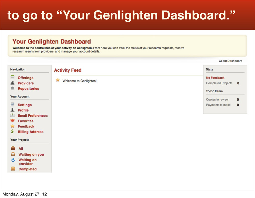 """to go to """"Your Genlighten Dashboard."""" Monday, A..."""