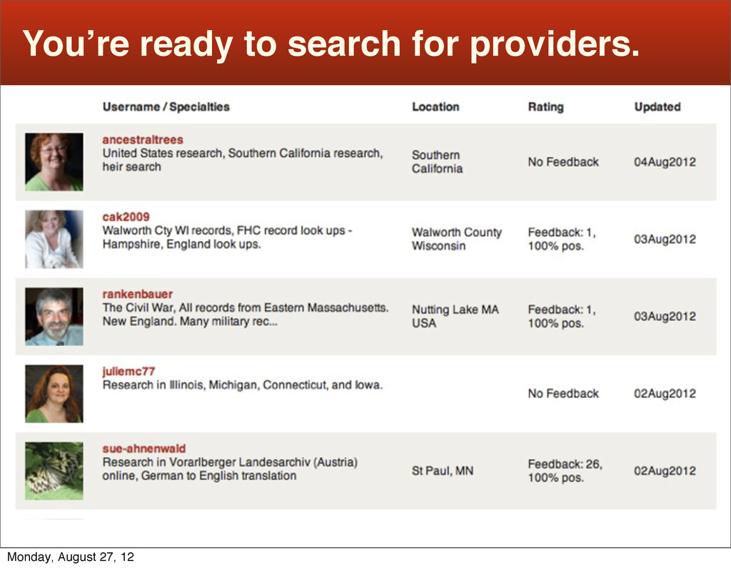 You're ready to search for providers. Monday, A...