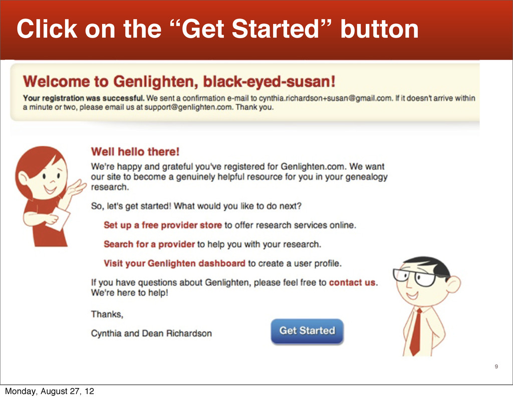 """9 Click on the """"Get Started"""" button Text Monday..."""