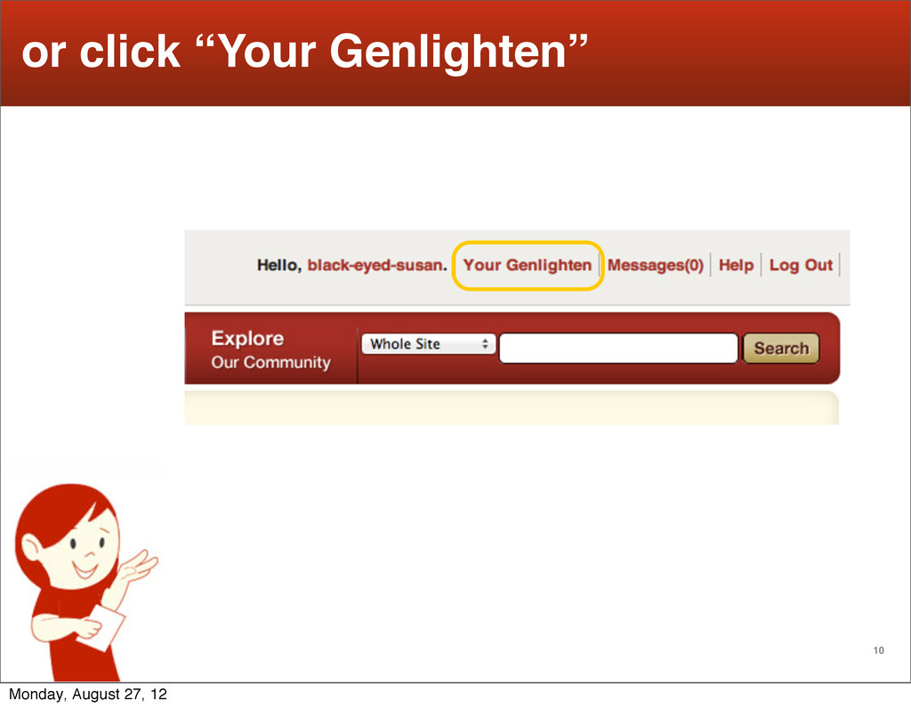 "10 or click ""Your Genlighten"" Monday, August 27..."