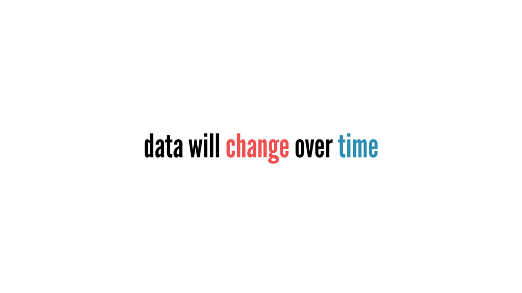 data will change over time