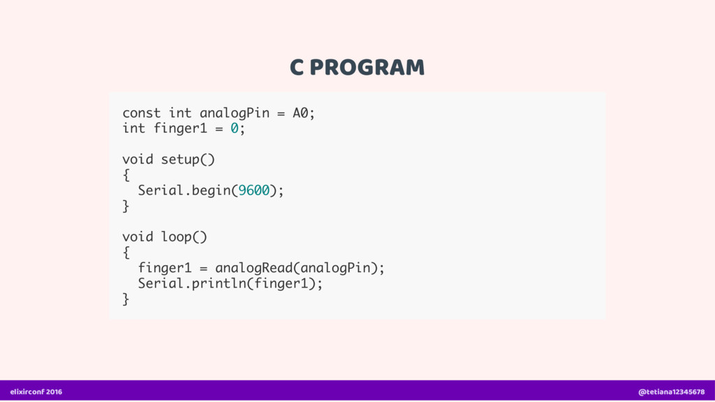 C PROGRAM const int analogPin = A0; int finger1...