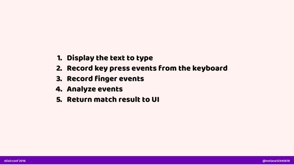 1. Display the text to type 2. Record key press...