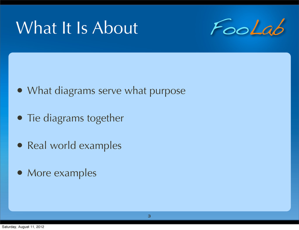 FooLab What It Is About • What diagrams serve w...